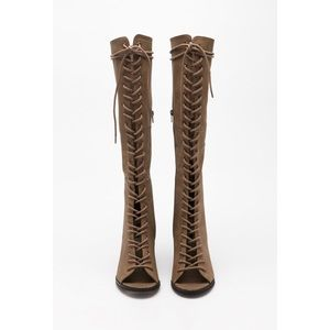 Shoes - Over the knee lace up open toe beige boot